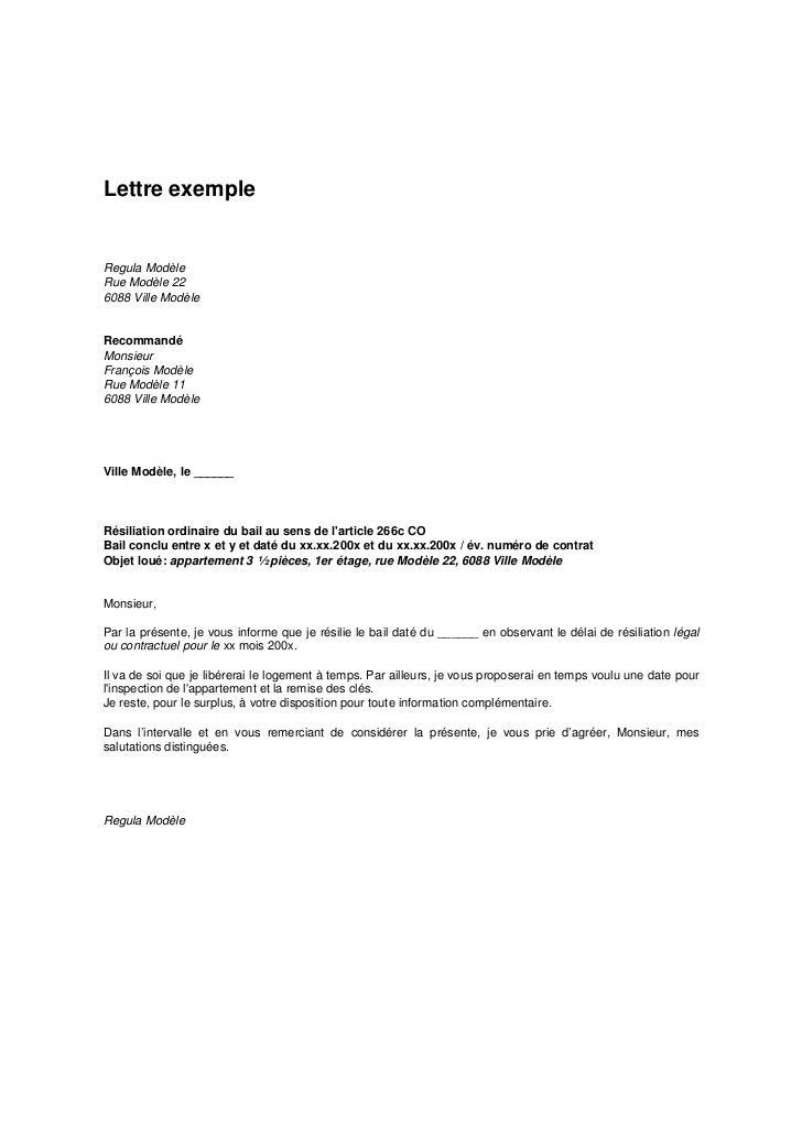Lettre résiliation du bail   Modèle de lettre