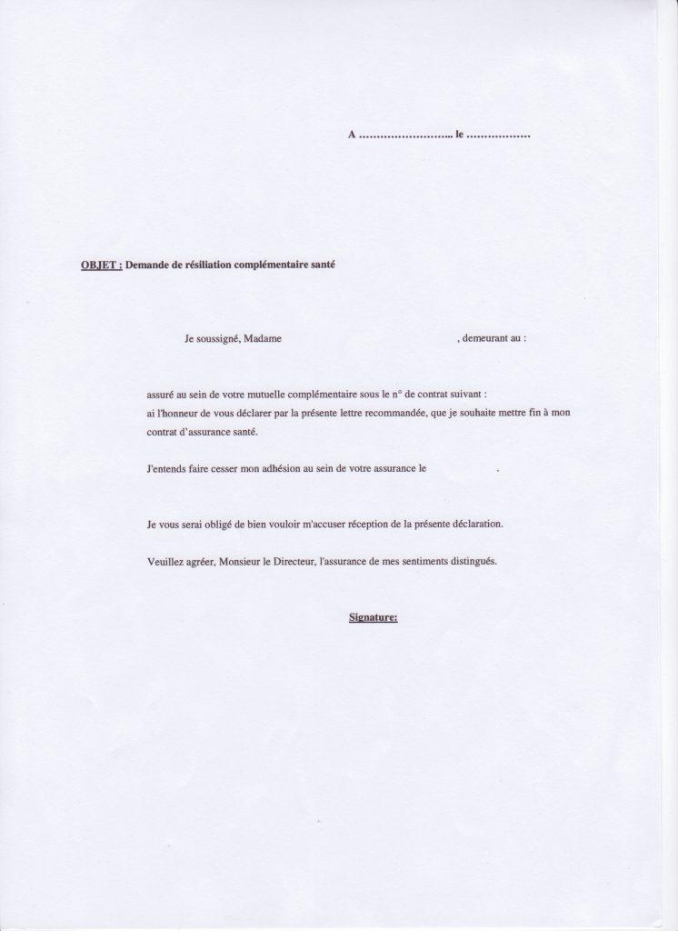 lettre type de r u00e9siliation de contrat d assurance