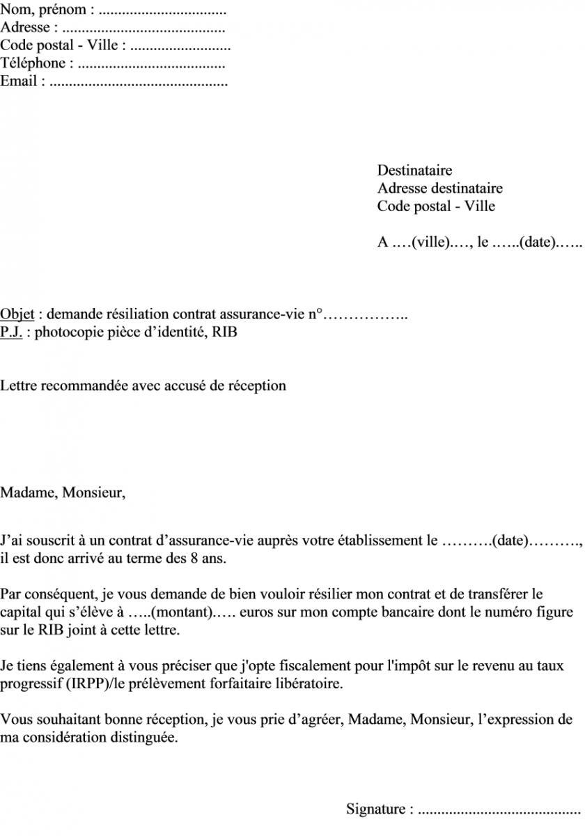 mod u00e8le de lettre de r u00e9siliation de contrat d assurance