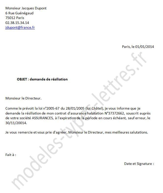 lettre de d u00e9nonciation de contrat