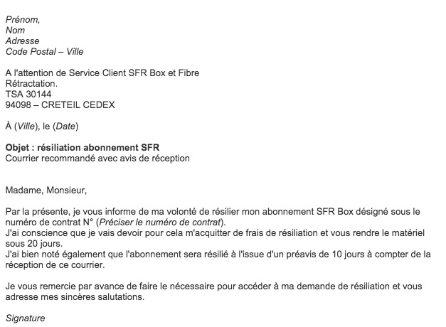 lettre de r u00e9siliation de contrat internet