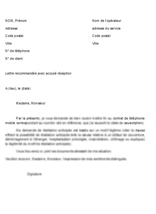 courrier r u00e9siliation contrat