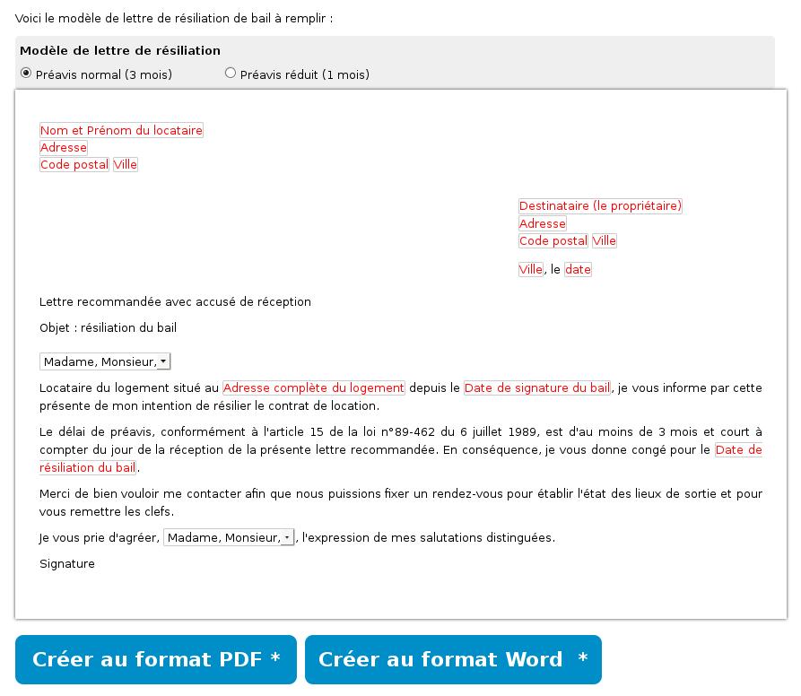 lettre de r u00e9siliation de contrat de location
