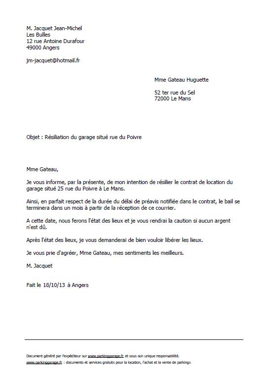 exemple de lettre de pr u00e9avis de 1 mois