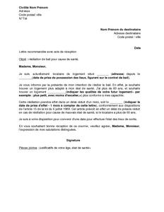 Résiliation bail 1 mois - Modèle de lettre