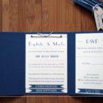 Faire part mariage bleu marine et rose