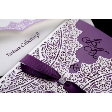 faire part mariage blanc et violet mod le de lettre. Black Bedroom Furniture Sets. Home Design Ideas