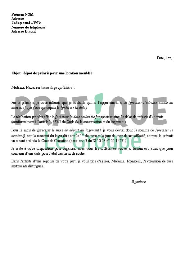 Modèle de lettre préavis appartement - Modèle de lettre