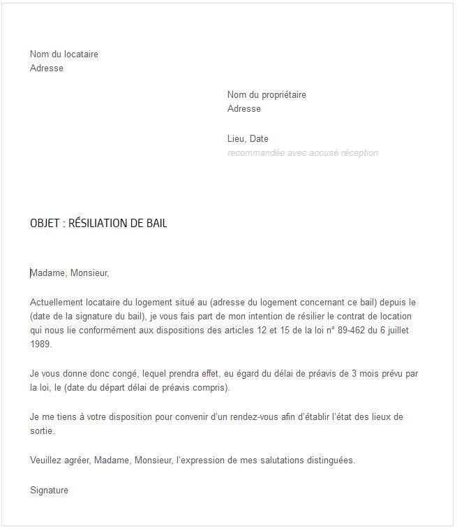 lettre r u00e9siliation de bail