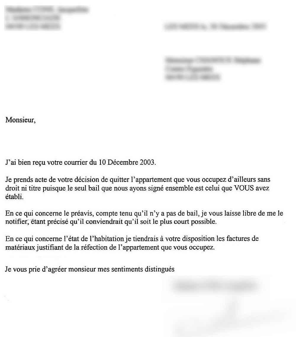 Lettre de départ locataire   Modèle de lettre