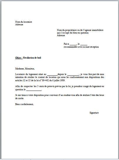 Modele de lettre de préavis logement 3 mois   Modèle de lettre