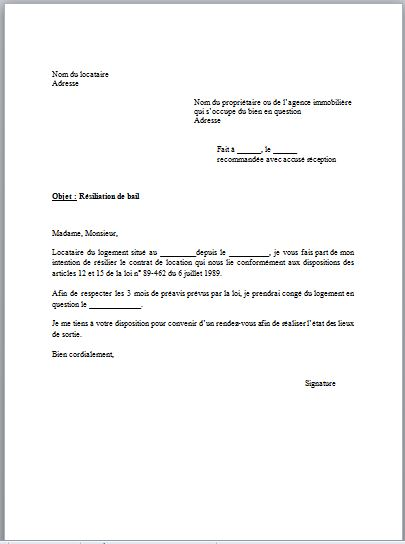 Exemple Preavis Logement 3 Mois Modele De Lettre