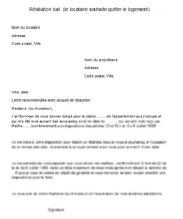 Lettre de préavis appartement 3 mois   Modèle de lettre