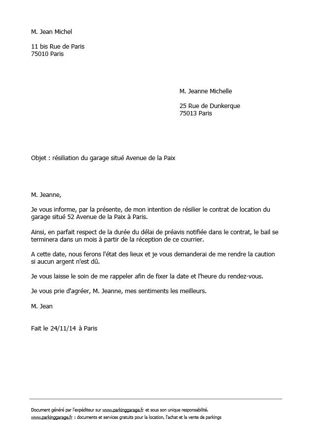 lettre pour resilier un bail locatif