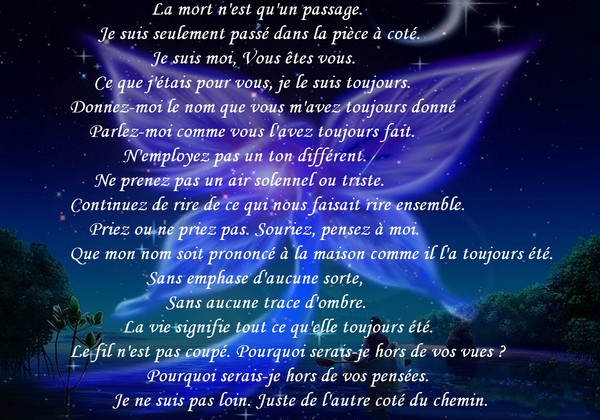 deuil texte exemple