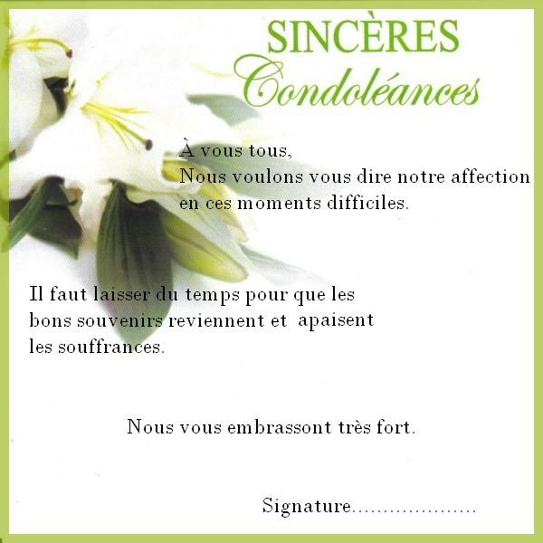 mot condoleances collegue