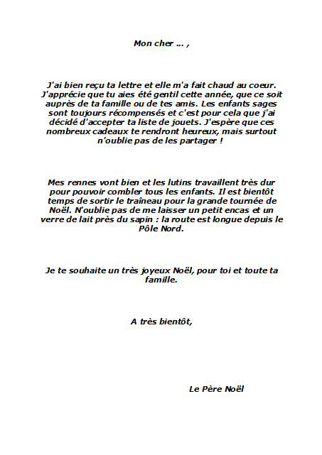 lettre reponse du pere noel gratuite