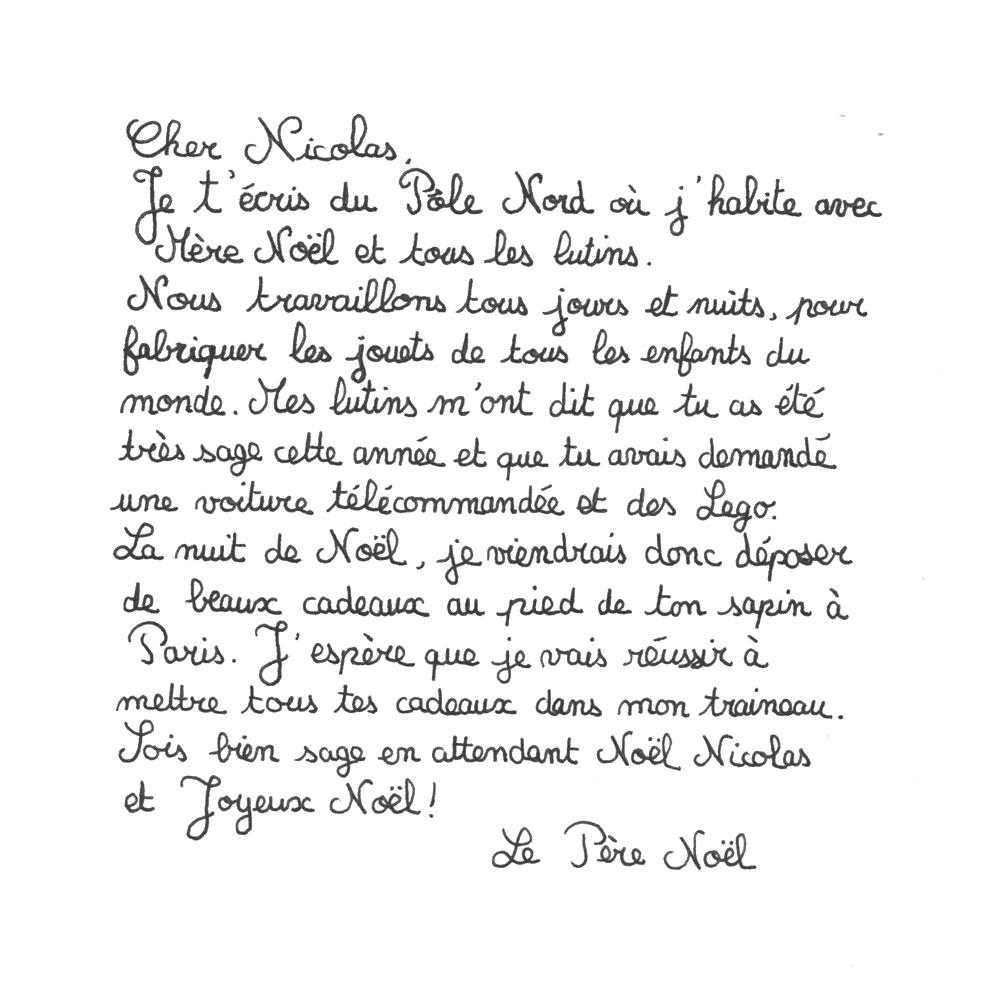 texte lettre pere noel