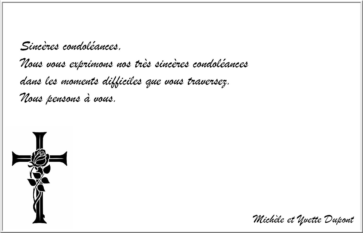 Modele sincere condoleance   Modèle de lettre