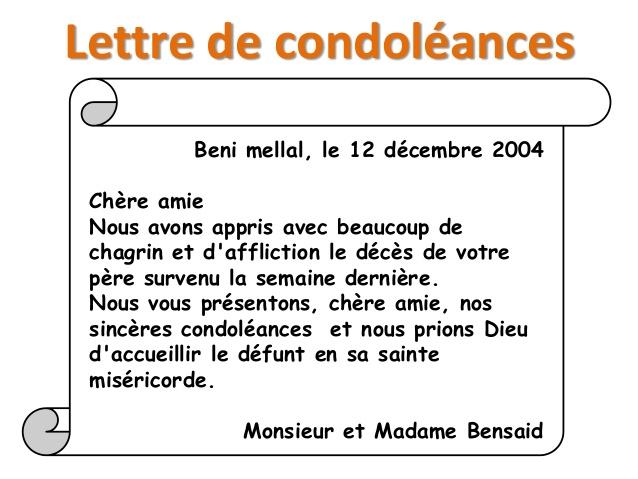Lettre de condoleances en francais   Modèle de lettre