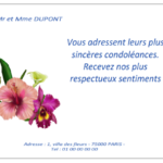 Mot condoléances simple