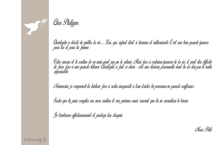Modele de lettre de condoleance pour un ami   Modèle de lettre
