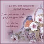 Mot de sincères condoléances