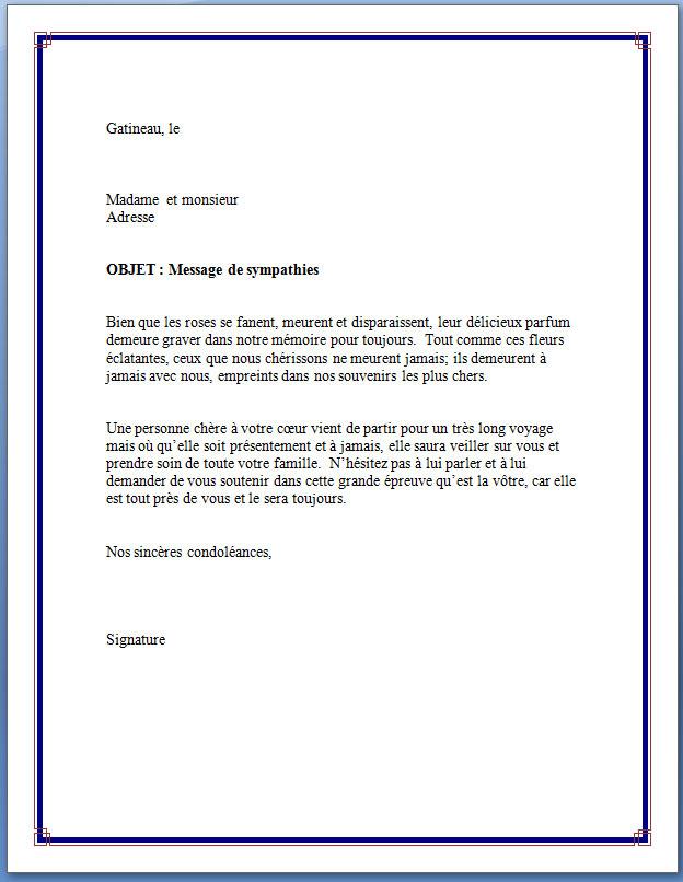 Lettre condol ances famille proche mod le de lettre for Trouver hotel proche adresse
