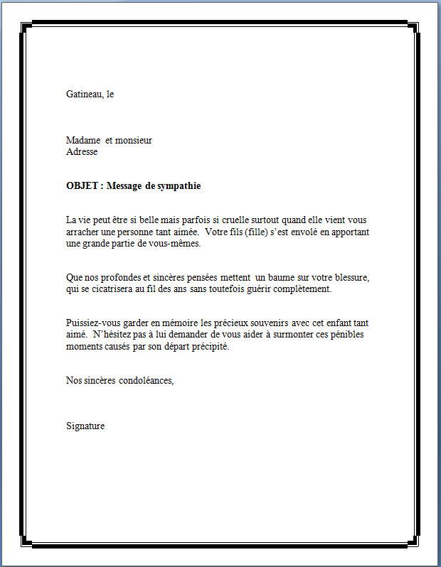 lettre sinc u00e8res condol u00e9ances