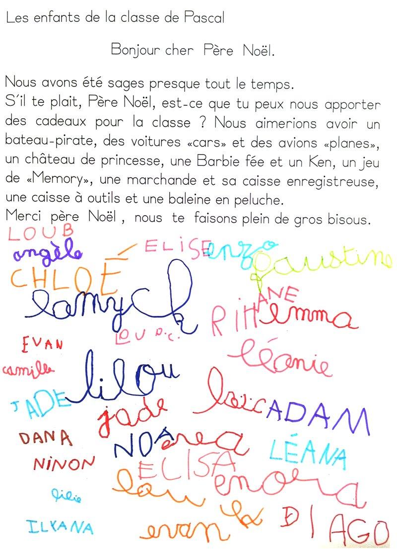 lettre au p u00e8re noel maternelle