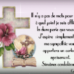 Condoléances message a un collegue