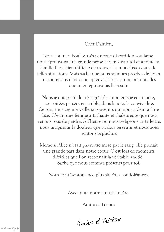 Modele lettre de condoleances en francais   Modèle de lettre