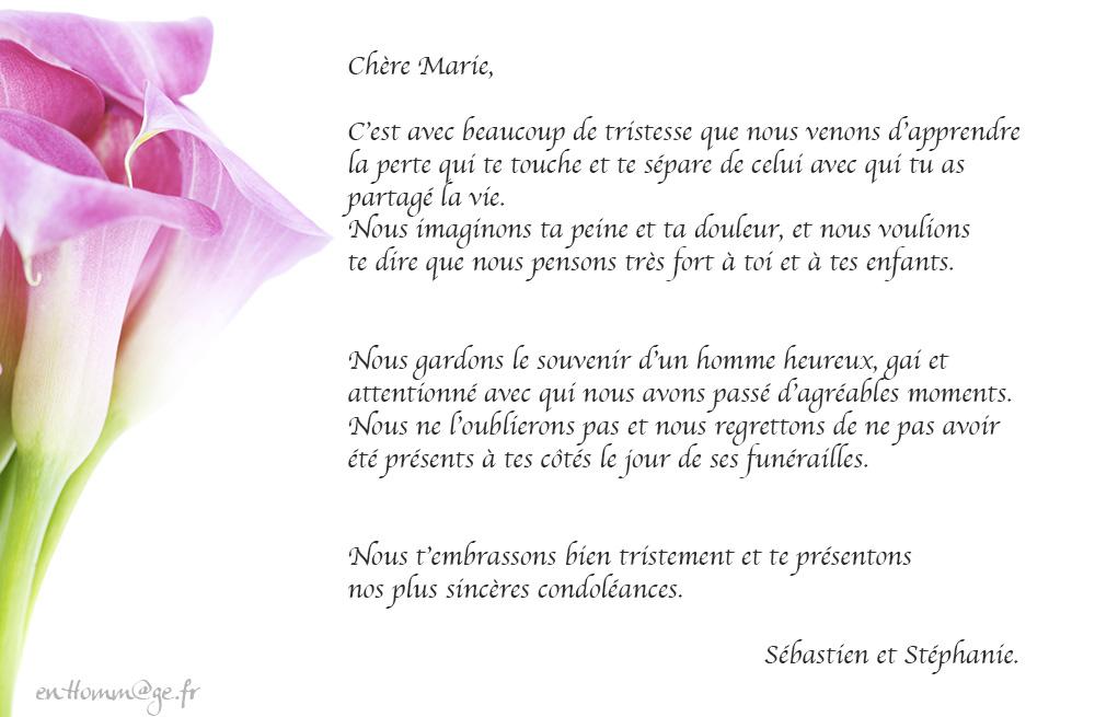 Message condoléances collègue   Modèle de lettre