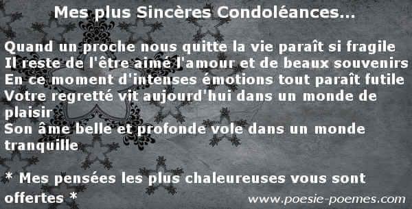 message pour souhaiter condol u00e9ances